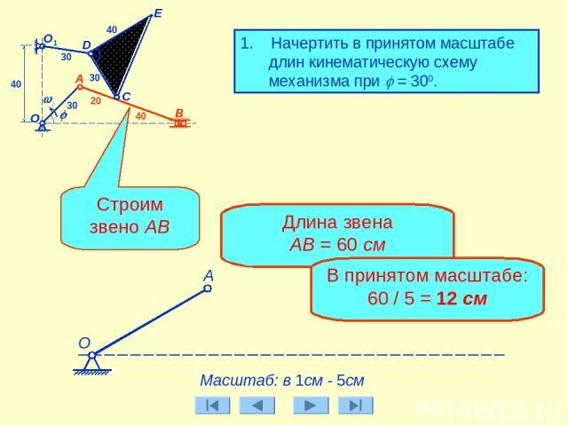 B О C j w0 D А E О1 30 30 30 40 20 40 40 1. Начертить в принятом масштабе длин кинематическую схему механизма при j = 300. Масштаб: в 1см - 5см А Строим звено АВ Длина звена АВ = 60 см В принятом масштабе: 60 / 5 = 12 см