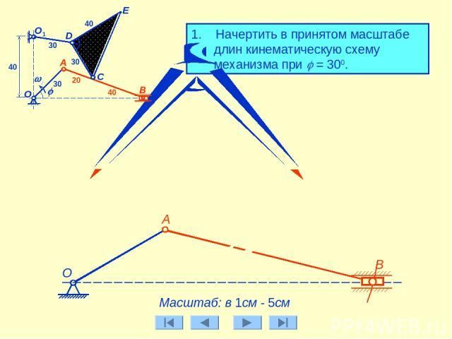 E 1. Начертить в принятом масштабе длин кинематическую схему механизма при j = 300. А B О C j w0 D А О1 30 30 30 40 20 40 40 Масштаб: в 1см - 5см