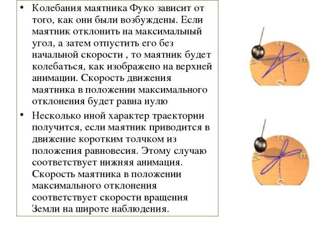 Колебания маятника Фуко зависит от того, как они были возбуждены. Если маятник отклонить на максимальный угол, а затем отпустить его без начальной скорости , то маятник будет колебаться, как изображено на верхней анимации. Скорость движения маятника…