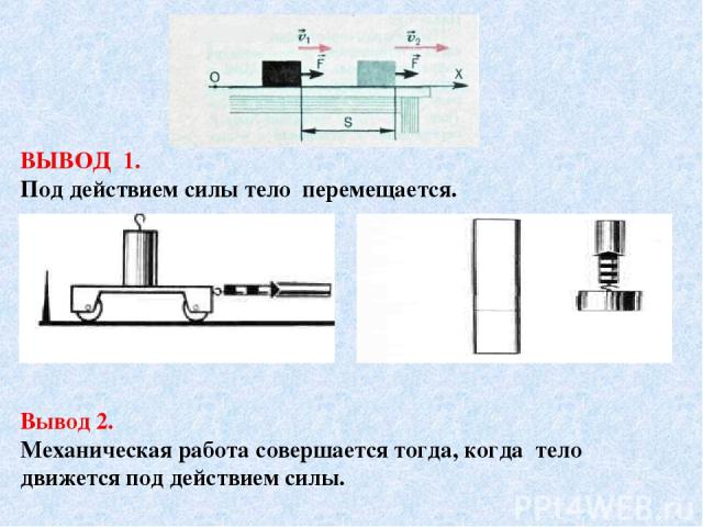ВЫВОД 1. Под действием силы тело перемещается. Вывод 2. Механическая работа совершается тогда, когда тело движется под действием силы.