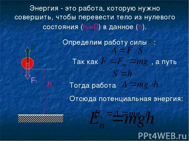 Энергия - это работа, которую нужно совершить, чтобы перевести тело из нулевого состояния (h0=0) в данное (h). h Определим работу силы F: Так как , а путь Тогда работа Отсюда потенциальная энергия: