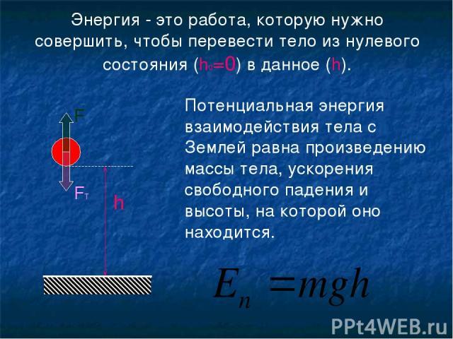 Энергия - это работа, которую нужно совершить, чтобы перевести тело из нулевого состояния (h0=0) в данное (h). h Потенциальная энергия взаимодействия тела с Землей равна произведению массы тела, ускорения свободного падения и высоты, на которой оно …
