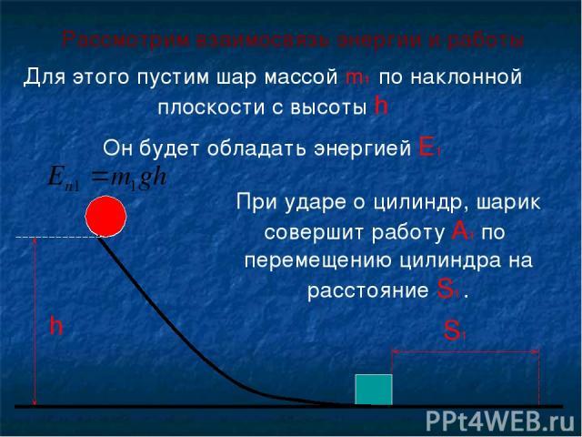h S1 Рассмотрим взаимосвязь энергии и работы Для этого пустим шар массой m1 по наклонной плоскости с высоты h Он будет обладать энергией E1 При ударе о цилиндр, шарик совершит работу А1 по перемещению цилиндра на расстояние S1 .