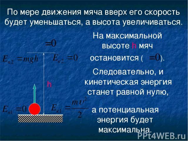 По мере движения мяча вверх его скорость будет уменьшаться, а высота увеличиваться. На максимальной высоте h мяч остановится (υ=0). υ =0 Следовательно, и кинетическая энергия станет равной нулю, а потенциальная энергия будет максимальна. h