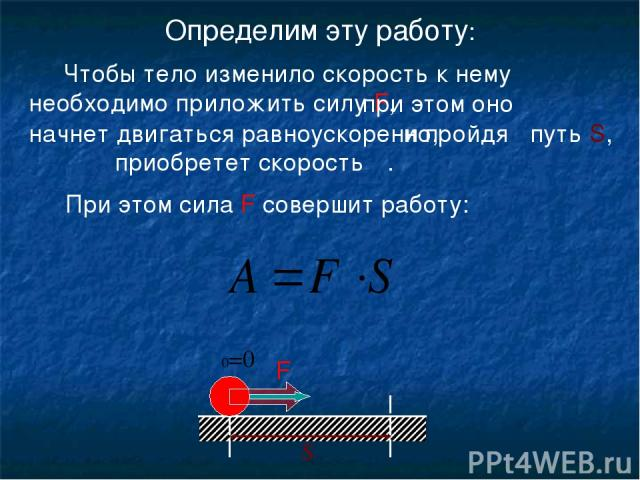 Определим эту работу: υ υ0=0 S Чтобы тело изменило скорость к нему необходимо приложить силу F, при этом оно начнет двигаться равноускоренно, и пройдя путь S, При этом сила F совершит работу: F приобретет скорость υ.