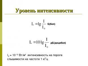 Уровень интенсивности Б(бел) дБ(децибел) I0 = 10-12 Вт/м2 интенсивность на порог