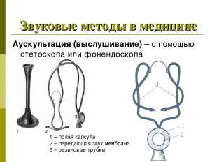 Звуковые методы в медицине Аускультация (выслушивание) – с помощью стетоскопа ил