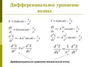 Дифференциальное уравнение волны Дифференциальное уравнение механической волны