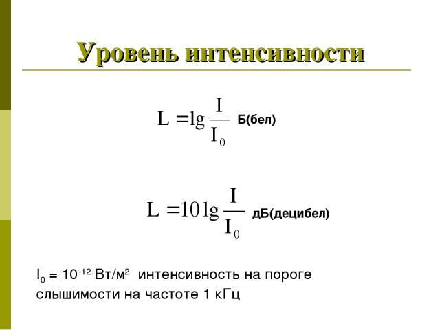 Уровень интенсивности Б(бел) дБ(децибел) I0 = 10-12 Вт/м2 интенсивность на пороге слышимости на частоте 1 кГц
