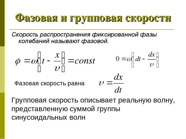 Фазовая и групповая скорости Скорость распространения фиксированной фазы колебаний называют фазовой. Фазовая скорость равна Групповая скорость описывает реальную волну, представленную суммой группы синусоидальных волн