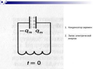 Конденсатор заряжен Запас электрической энергии