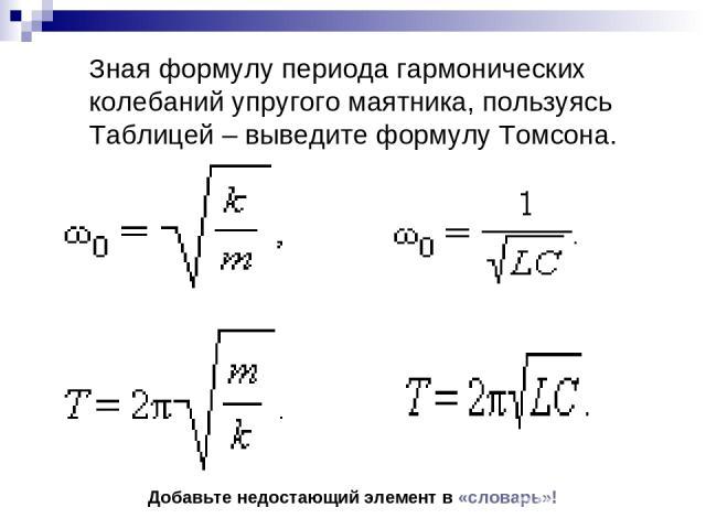 Зная формулу периода гармонических колебаний упругого маятника, пользуясь Таблицей – выведите формулу Томсона. Добавьте недостающий элемент в «словарь»!