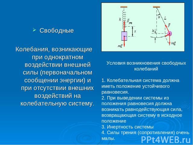 Свободные Колебания, возникающие при однократном воздействии внешней силы (первоначальном сообщении энергии) и при отсутствии внешних воздействий на колебательную систему. Условия возникновения свободных колебаний 1. Колебательная система должна име…