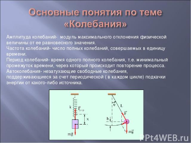 Амплитуда колебаний- модуль максимального отклонения физической величины от ее равновесного значения. Частота колебаний- число полных колебаний, совершаемых в единицу времени. Период колебаний- время одного полного колебания, т.е. минимальный промеж…