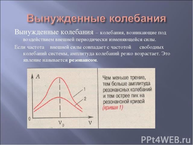 Вынужденные колебания – колебания, возникающие под воздействием внешней периодически изменяющейся силы. Если частота ν внешней силы совпадает с частотой ν свободных колебаний системы, амплитуда колебаний резко возрастает. Это явление называется резо…
