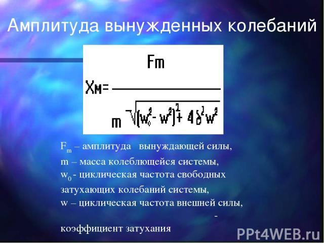 Fm – амплитуда вынуждающей силы, m – масса колеблющейся системы, w0 - циклическая частота свободных затухающих колебаний системы, w – циклическая частота внешней силы, δ - коэффициент затухания Амплитуда вынужденных колебаний