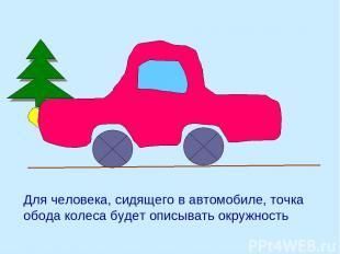 Для человека, сидящего в автомобиле, точка обода колеса будет описывать окружнос