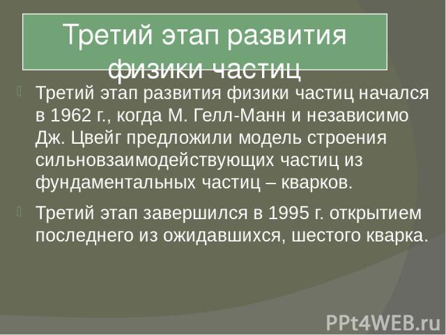 Третий этап развития физики частиц Третий этап развития физики частиц начался в 1962 г., когда М. Гелл-Манн и независимо Дж. Цвейг предложили модель строения сильновзаимодействующих частиц из фундаментальных частиц – кварков. Третий этап завершился …
