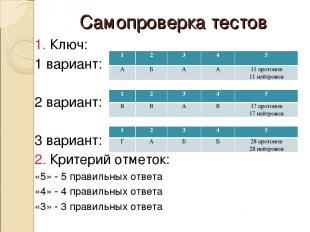 Самопроверка тестов 1. Ключ: 1 вариант: 2 вариант: 3 вариант: 2. Критерий отмето