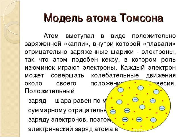 Модель атома Томсона Атом выступал в виде положительно заряженной «капли», внутри которой «плавали» отрицательно заряженные шарики - электроны, так что атом подобен кексу, в котором роль изюминок играют электроны. Каждый электрон может совершать кол…