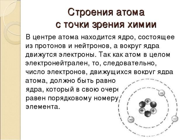 Строения атома с точки зрения химии В центре атома находится ядро, состоящее из протонов и нейтронов, а вокруг ядра движутся электроны. Так как атом в целом электронейтрален, то, следовательно, число электронов, движущихся вокруг ядра атома, должно …