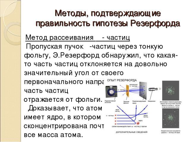 Методы, подтверждающие правильность гипотезы Резерфорда Метод рассеивания α - частиц Пропуская пучок α-частиц через тонкую фольгу, Э.Резерфорд обнаружил, что какая-то часть частиц отклоняется на довольно значительный угол от своего первоначального н…