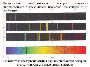 Линейчатые спектры излучения в видимой области: водород, ртуть, неон. Спектр пог