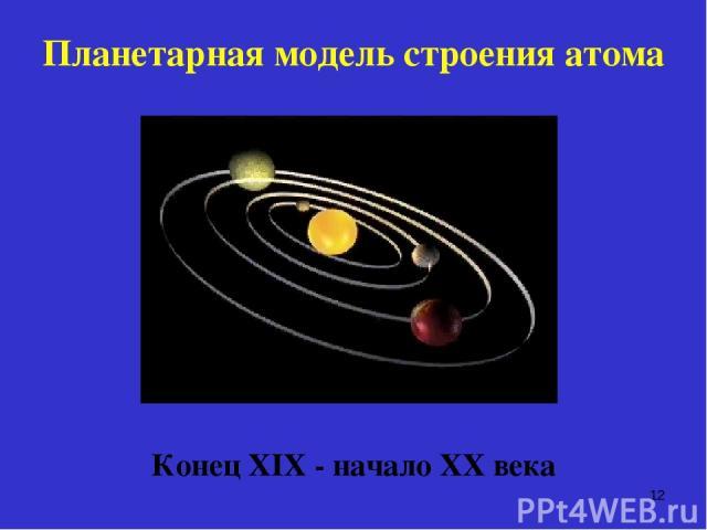 Планетарная модель строения атома Конец ХIХ - начало ХХ века *