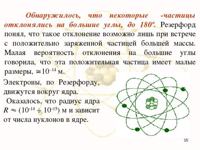Обнаружилось, что некоторые α-частицы отклонялись на большие углы, до 180º. Резерфорд понял, что такое отклонение возможно лишь при встрече с положительно заряженной частицей большей массы. Малая вероятность отклонения на большие углы говорила, что …