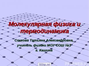 Молекулярная физика и термодинамика Сочкова Татьяна Александровна, учитель физик