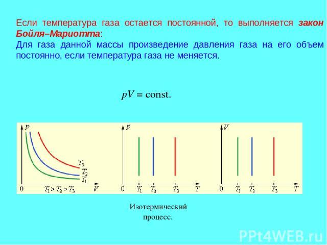 Если температура газа остается постоянной, то выполняется закон Бойля–Мариотта: Для газа данной массы произведение давления газа на его объем постоянно, если температура газа не меняется. pV=const. …