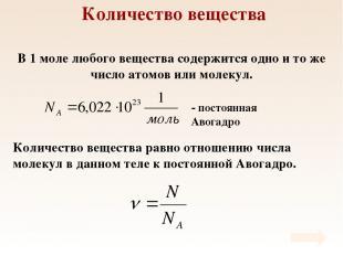 Количество вещества В 1 моле любого вещества содержится одно и то же число атомо