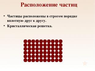 Расположение частиц Частицы расположены в строгом порядке вплотную друг к другу.
