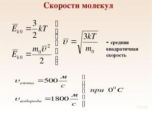 Скорости молекул