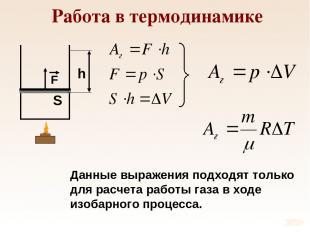 Работа в термодинамике Данные выражения подходят только для расчета работы газа