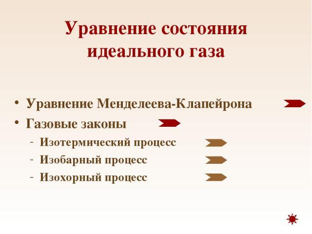 Уравнение состояния идеального газа Уравнение Менделеева-Клапейрона Газовые законы Изотермический процесс Изобарный процесс Изохорный процесс