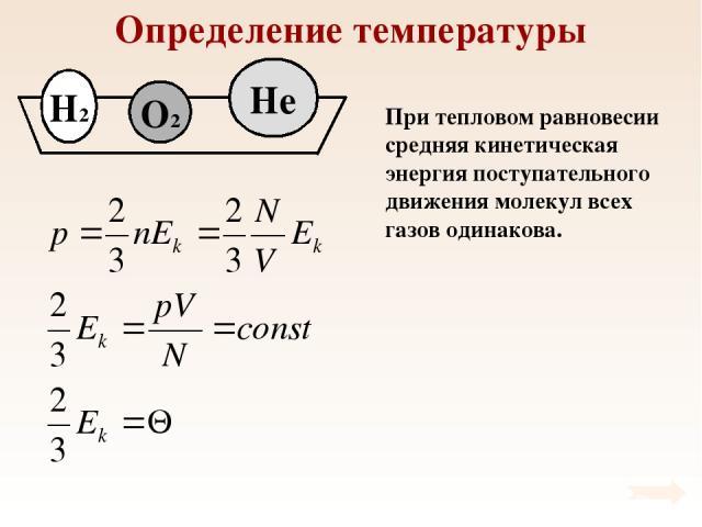 Определение температуры При тепловом равновесии средняя кинетическая энергия поступательного движения молекул всех газов одинакова.