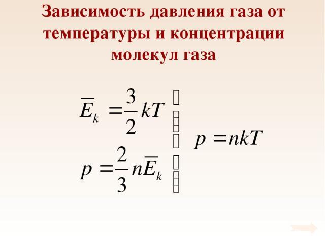 Зависимость давления газа от температуры и концентрации молекул газа
