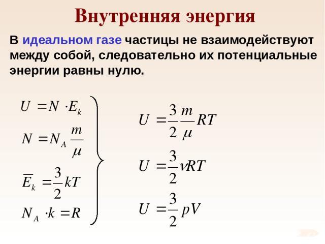 Внутренняя энергия В идеальном газе частицы не взаимодействуют между собой, следовательно их потенциальные энергии равны нулю.