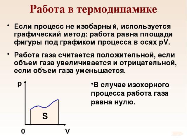 Работа в термодинамике Если процесс не изобарный, используется графический метод: работа равна площади фигуры под графиком процесса в осях pV. Работа газа считается положительной, если объем газа увеличивается и отрицательной, если объем газа уменьш…