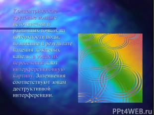 Концентрические круговые волны с источниками в различных точках на поверхности в
