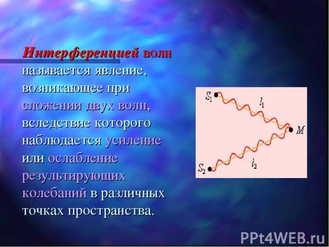 Интерференцией волн называется явление, возникающее при сложении двух волн, вследствие которого наблюдается усиление или ослабление результирующих колебаний в различных точках пространства.