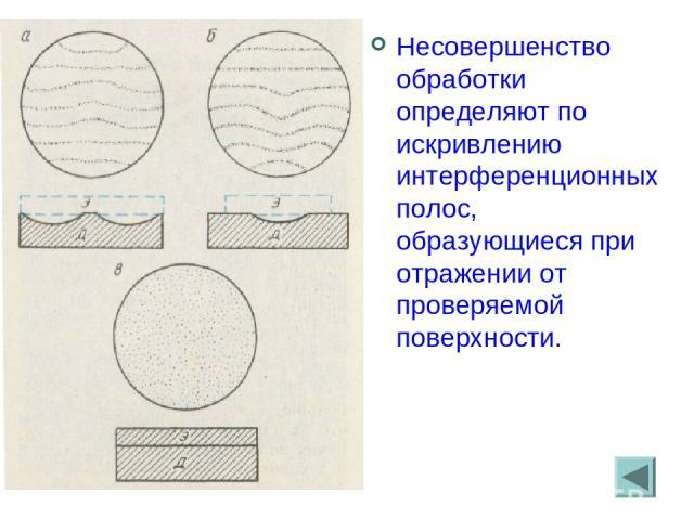. Несовершенство обработки определяют по искривлению интерференционных полос, образующиеся при отражении от проверяемой поверхности.
