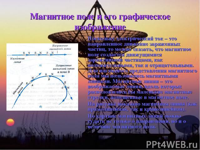Магнитное поле и его графическое изображение Поскольку электрический ток – это направленное движение заряженных частиц, то можно сказать, что магнитное поле создается движущимися заряженными частицами, как положительными, так и отрицательными. Для н…