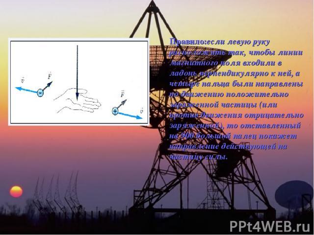 Правило:если левую руку расположить так, чтобы линии магнитного поля входили в ладонь перпендикулярно к ней, а четыре пальца были направлены по движению положительно зараженной частицы (или против движения отрицательно заряженной), то отставленный н…
