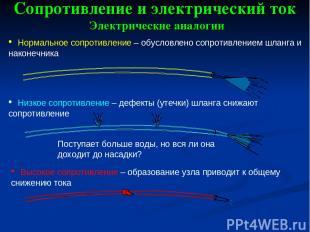 Сопротивление и электрический ток Электрические аналогии Нормальное сопротивлени