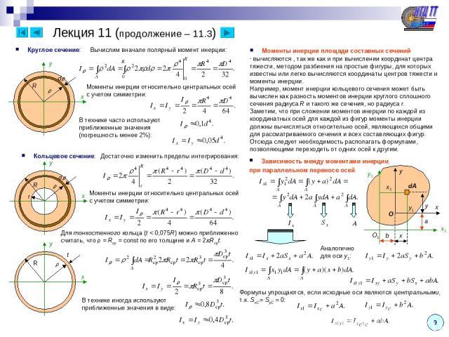 9 Круглое сечение: Лекция 11 (продолжение – 11.3) d R x y Вычислим вначале полярный момент инерции: Моменты инерции относительно центральных осей с учетом симметрии: В технике часто используют приближенные значения (погрешность менее 2%): Кольцевое …