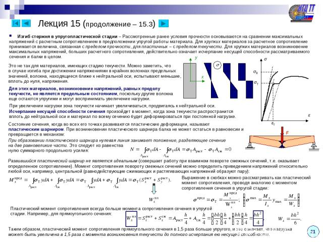 21 Лекция 15 (продолжение – 15.3) Изгиб стержня в упругопластической стадии – Рассмотренные ранее условия прочности основываются на сравнении максимальных напряжений с расчетным сопротивлением в предположении упругой работы материала. Для хрупких ма…