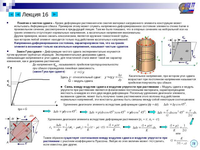 Лекция 16 Понятие о чистом сдвиге – Кроме деформации растяжения или сжатия материал нагруженного элемента конструкции может испытывать деформацию сдвига. Примером этому может служить напряженно-деформированное состояние элемента стенки балки в произ…