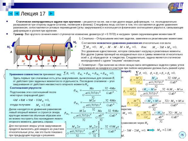 Лекция 17 Статически неопределимые задачи при кручении – решаются так же, как и при других видах деформации, т.е. последовательно раскрываются три стороны задачи (статика, геометрия и физика). Специфика лишь состоит в том, что составляются другие ур…
